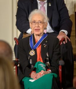 Katherine Johnson wearing Presidential Medal of Freedom at the White House